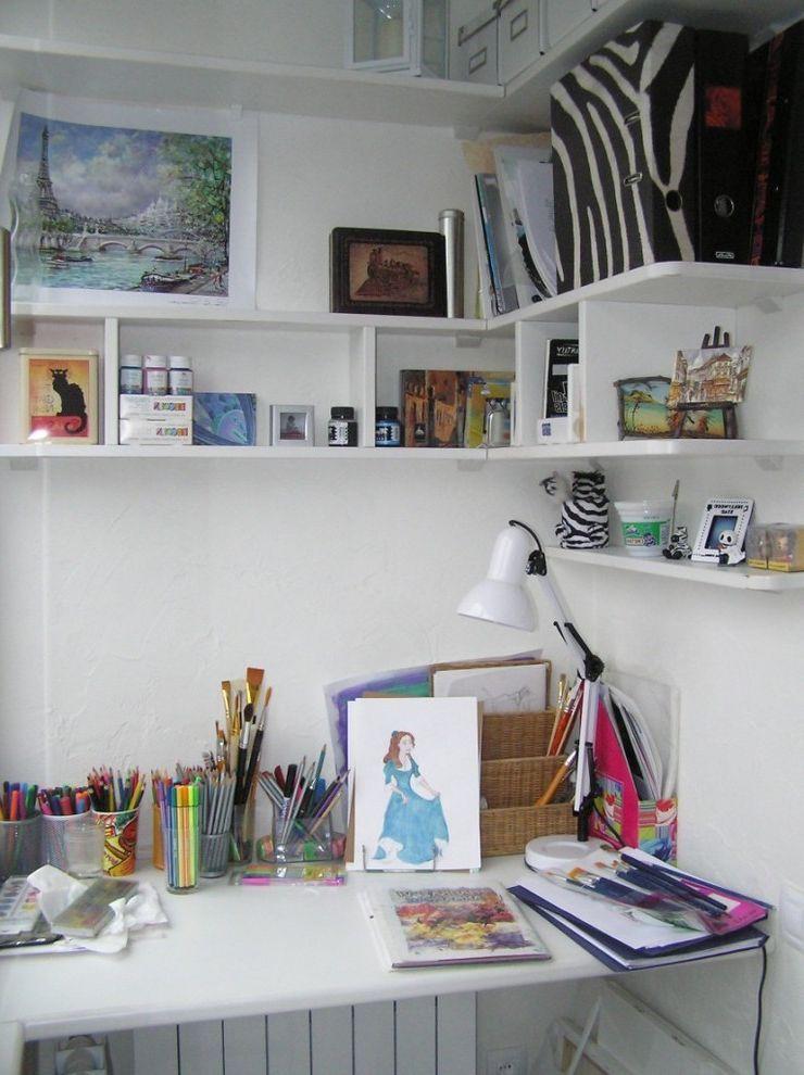 Desk With Shelves Above With Contemporary Kids And Art Corner Built In Shelves Desk Desktop Floating Shelves Office Acces Floating Shelves Shelves Desk Shelves