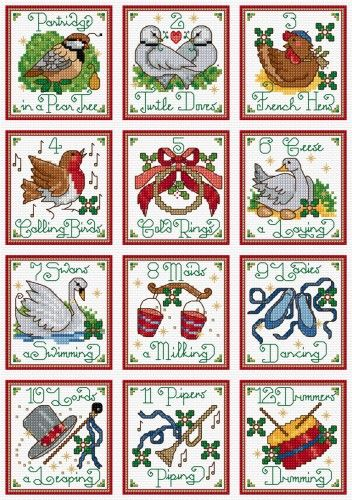 LJT31C 12 days of Christmas motifs Lesley Teare Needlework and