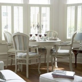 Blue Tan And White Striped Upholstered Wooden Dining Chairs Round Table Plantation