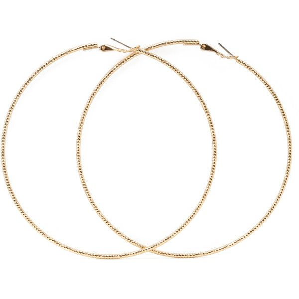 Forever 21 Oversized Etched Hoop Earrings 1 90 Liked On Polyvore Featuring Jewelry Accessories Extra Gold