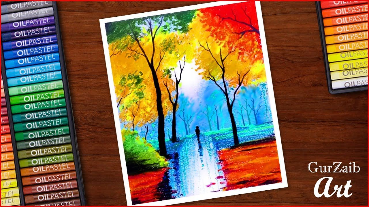 Nature Drawing With Oil Pastels Colorful Trees In Rainy Season Paintin Oil Pastel Paintings Oil Pastel Art Oil Pastel Landscape