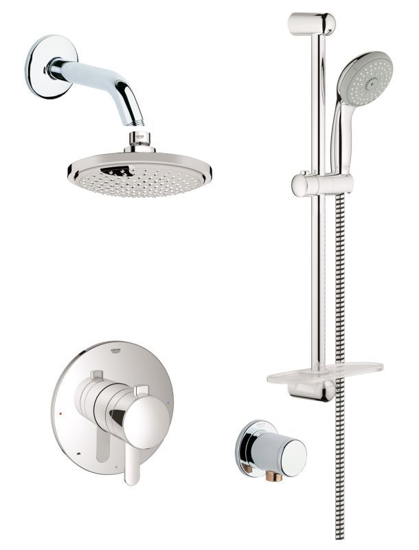 View The Grohe GSS Europlus DPB 03 Europlus Pressure Balanced Shower System  With Rain Shower Head, Handshower, Slide Bar, Wall Supply, Integrated Du2026 ...