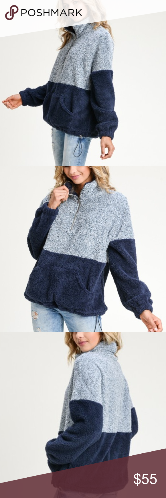 Two Tone 1/4 Zip Pull Over Sweater Jacket Boutique