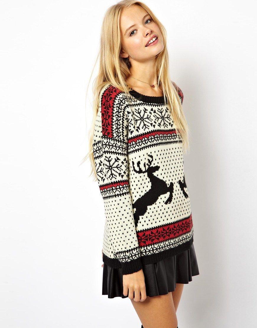 ASOS ASOS Christmas Sweater in Reindeer Fairisle at ASOS