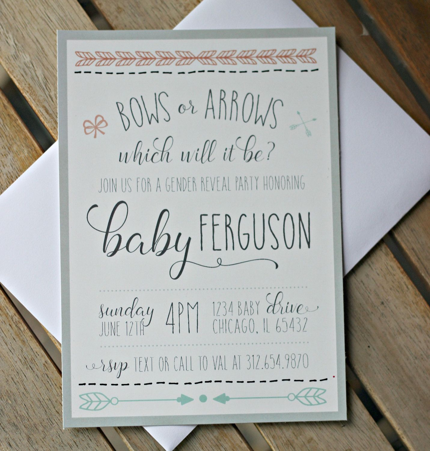 Gender Reveal Party Invitation / Bows or Arrows / Tribal / Aztec ...