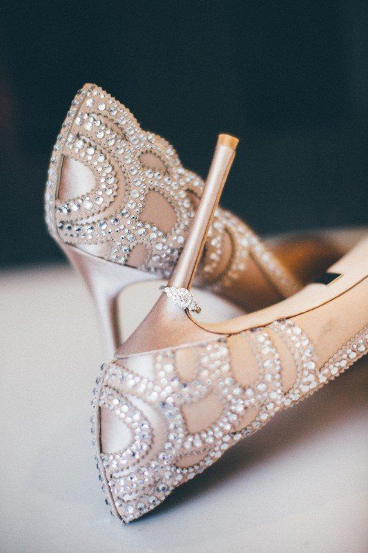 226c3d9f122f Sparkly wedding shoes for bride - blush heels with crystal embellishment   Jennifer DeBarros Photography