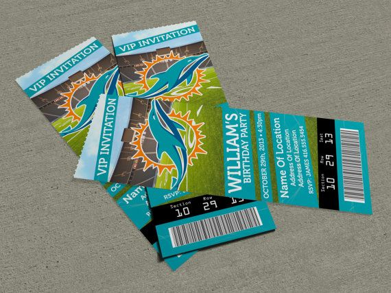 These are sweet! - Miami Dolphins Birthday Party Event Ticket - event ticket ideas