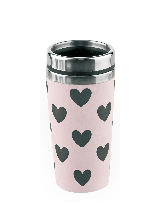 coffee to go becher mit herz print in rosa und schwarz. Black Bedroom Furniture Sets. Home Design Ideas