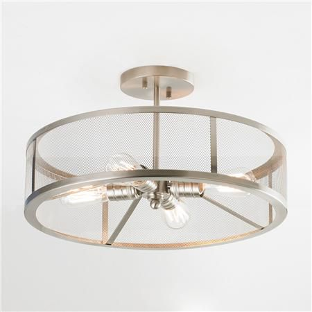 mesh industrial semi flush mount ceiling light flush