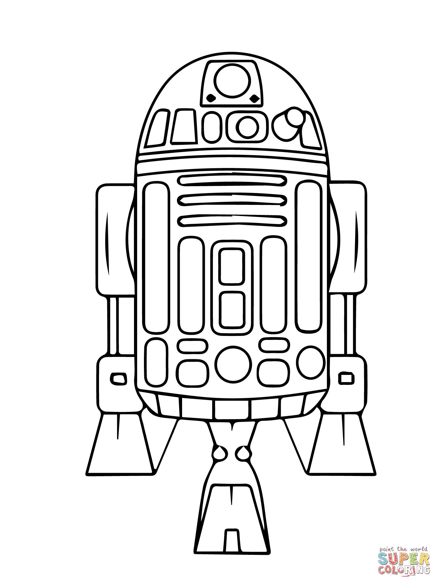 Astromech Droid R2 D2 Coloring Page Supercoloring Com Star