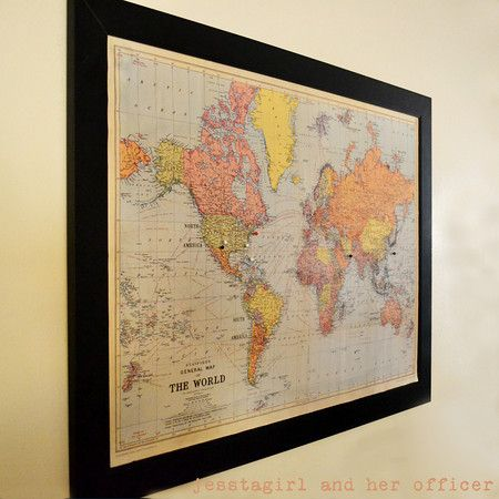 Newlywed Map Marks place, Buckets and Future - new world map canvas picture