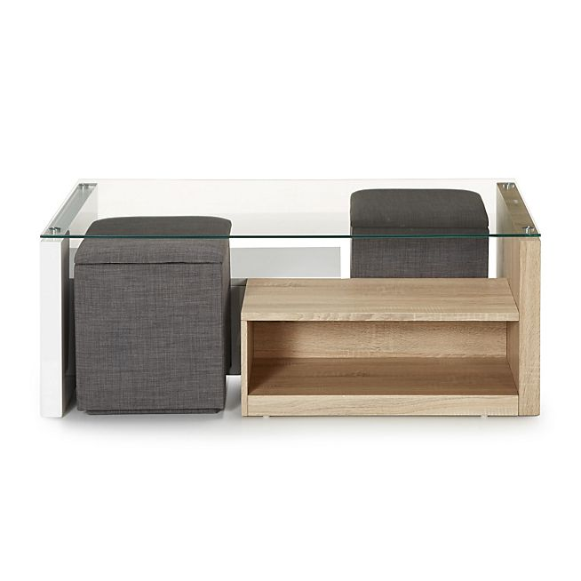 Vivo Table basse avec 2 niches de rangement et 2 poufs coffre - rangement salle a manger