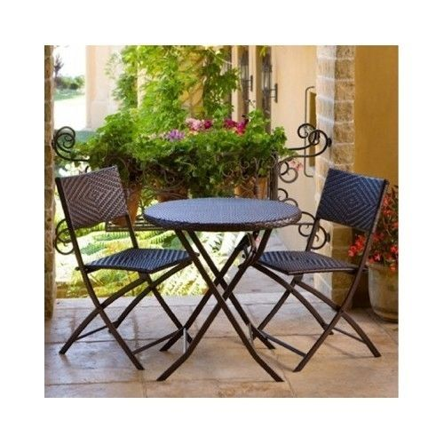Bistro Set Outdoor Table Chair Garden 3 Piece Wrought Iron Wicker Deck Patio  New