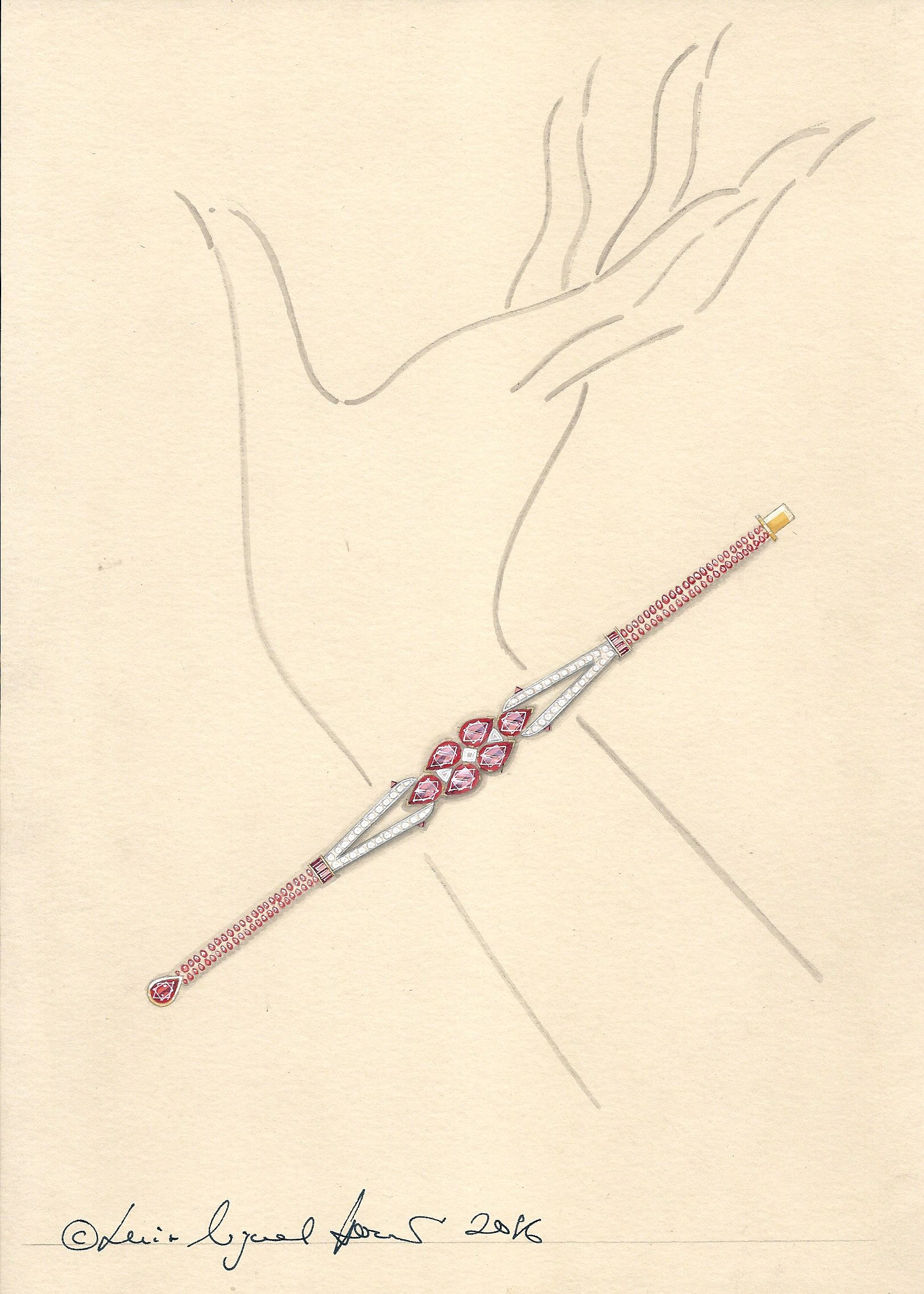 Design proposal for a burmese ruby and diamond bracelet in art deco