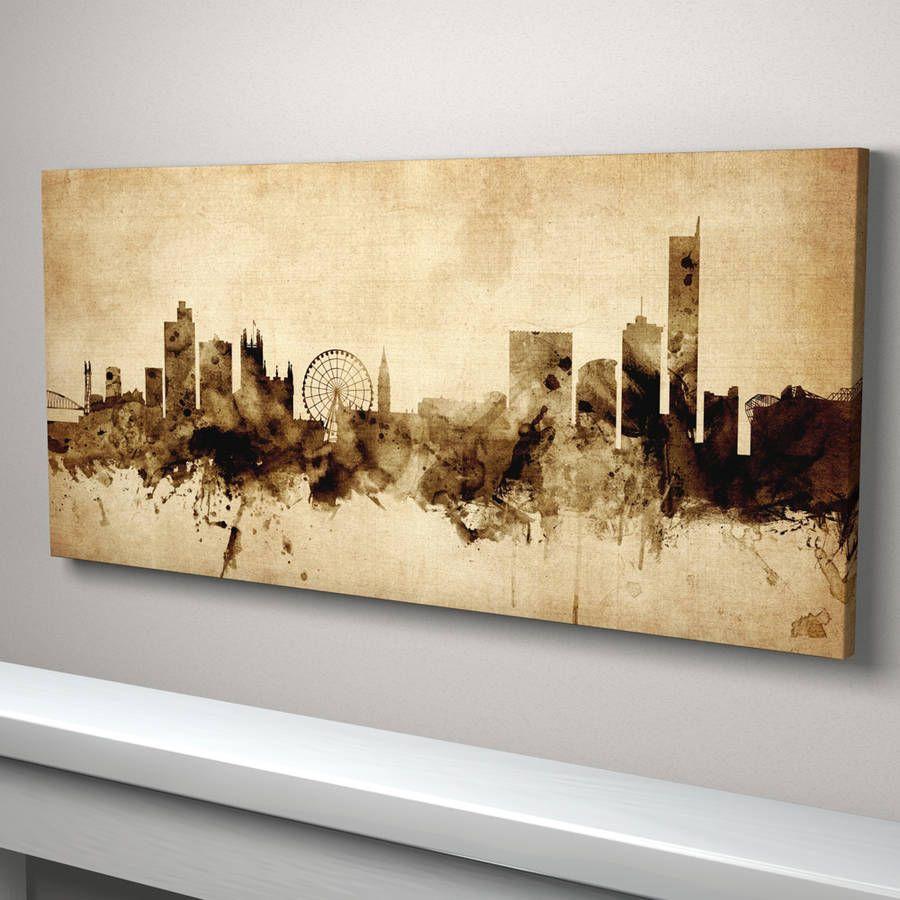 Manchester Skyline Cityscape Vintage Art Print   Interior design and ...