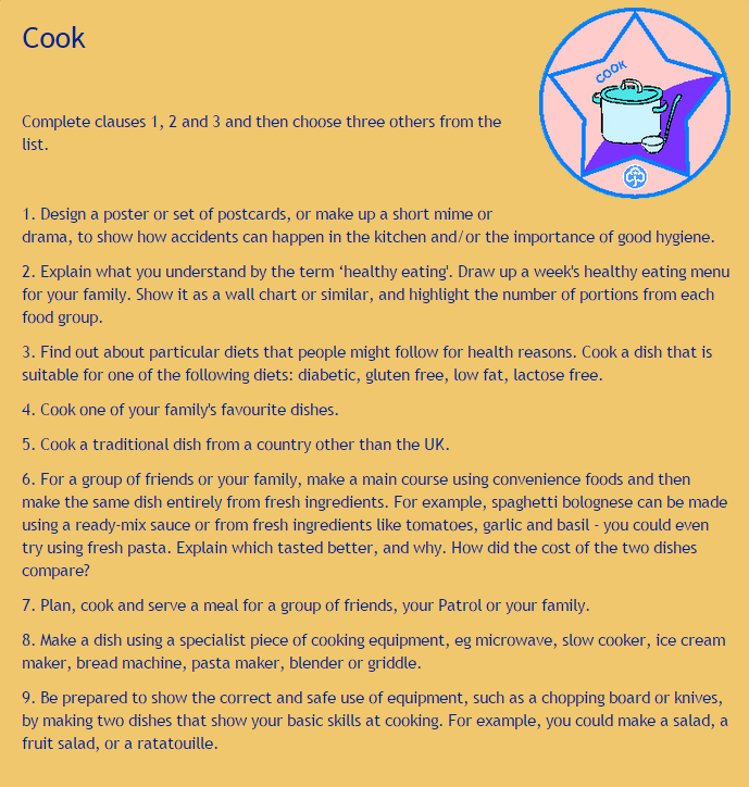 Guide Cook Badge Syllabus | Guide Cook Badge | Badge, Cooking