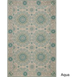 awesome Uzbek Vibes Aqua Hand-Hooked Wool Indoor Rug (8' x 10') Check more at http://yorugs.com/shop/uzbek-vibes-aqua-hand-hooked-wool-indoor-rug-8-x-10/