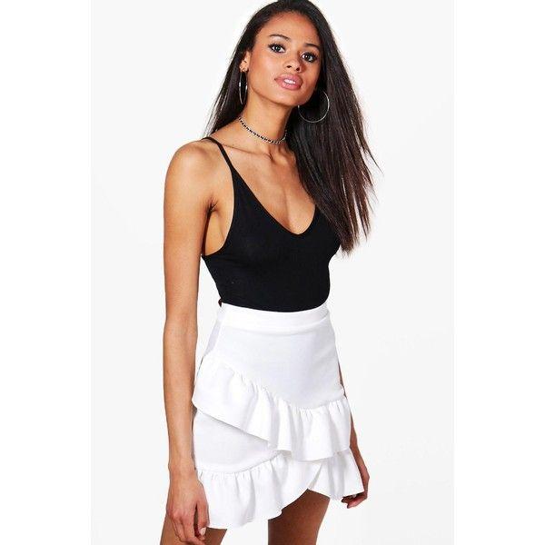 3eb8c28fbc Boohoo Aurora Wrap Ruffle Hem Mini Skirt ( 28) ❤ liked on Polyvore  featuring skirts