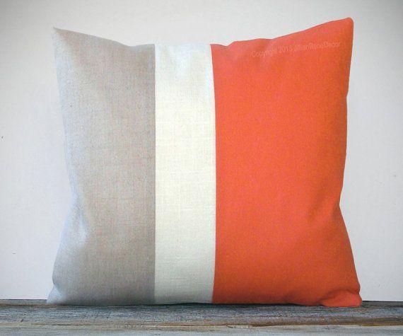 20x20 Color Block Pillow in Orange, Cream and Natural Linen by JillianReneDecor | Modern Home Decor | Gift for Her | Tangerine