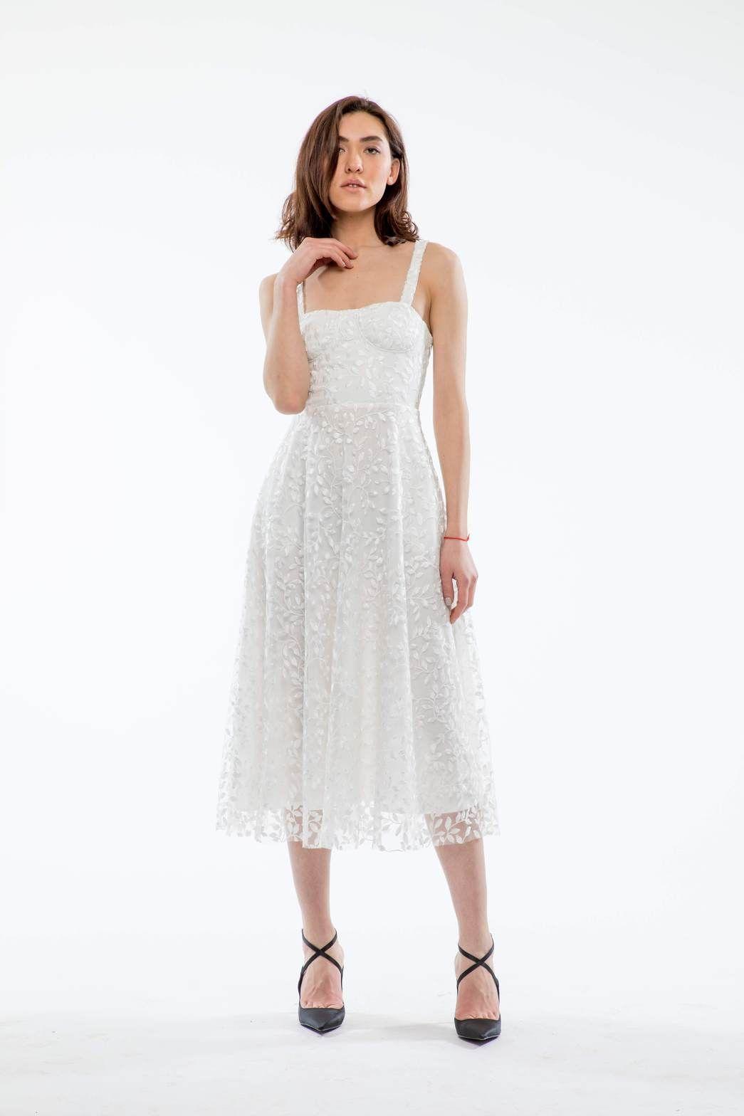 Ambrose Embroidered Bustier Midi Dress (White) -   17 white dress Midi ideas