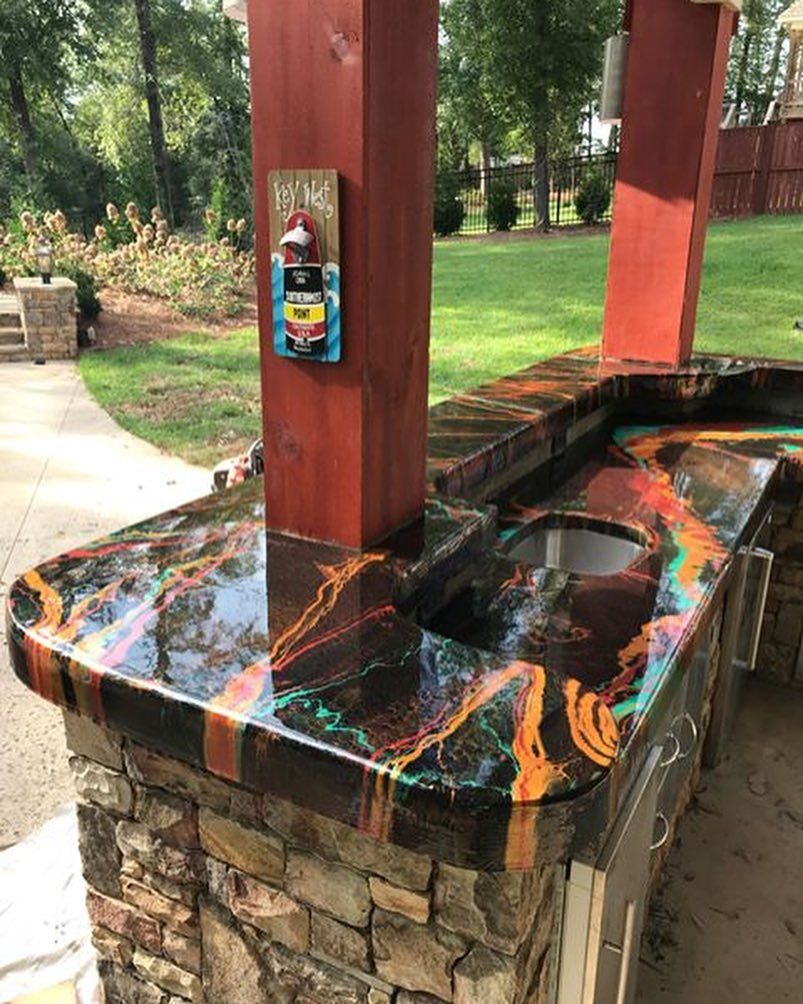 Epoxy Resin Outdoor Countertop Bartop Created With