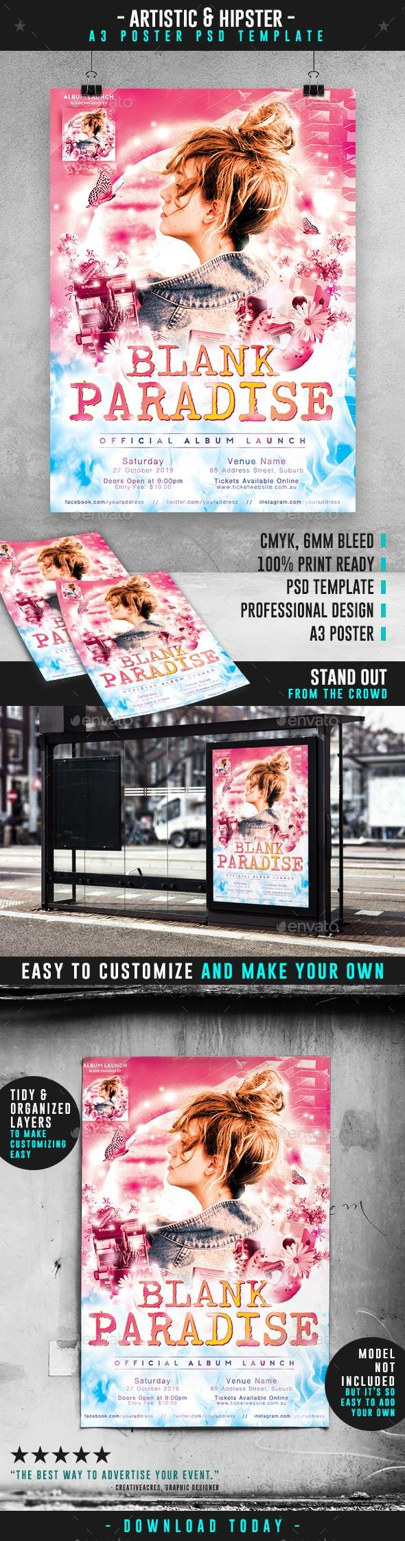 Bright Album Launch Event A3 Poster Template Poster Template