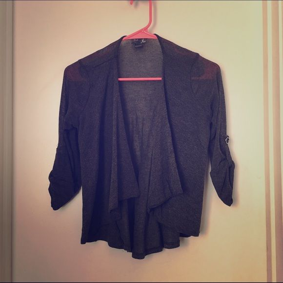 Grey cardigan Sheer material. 3/4 length. Says medium but I say it ...