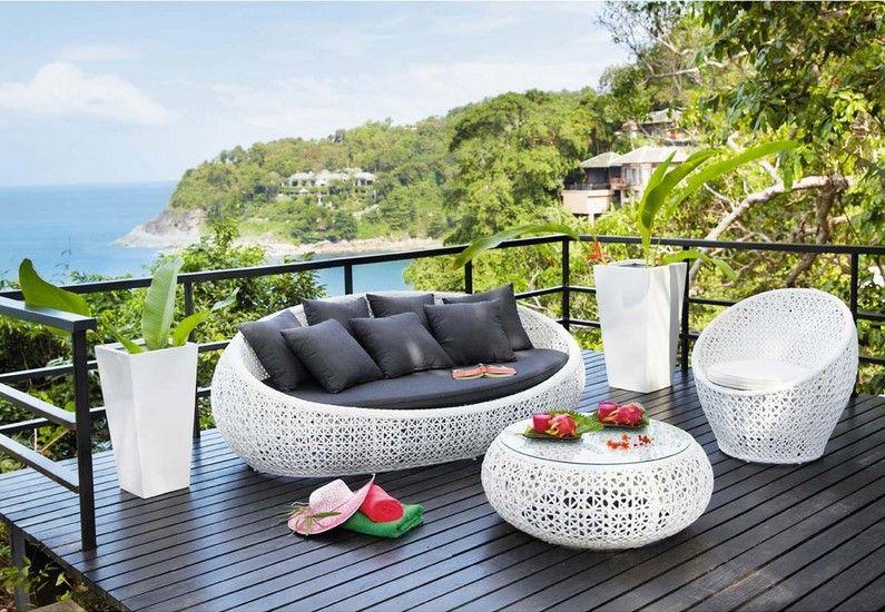 Canapé de jardin 3 places Durban en résine tressée blanc | Dış mekan ...