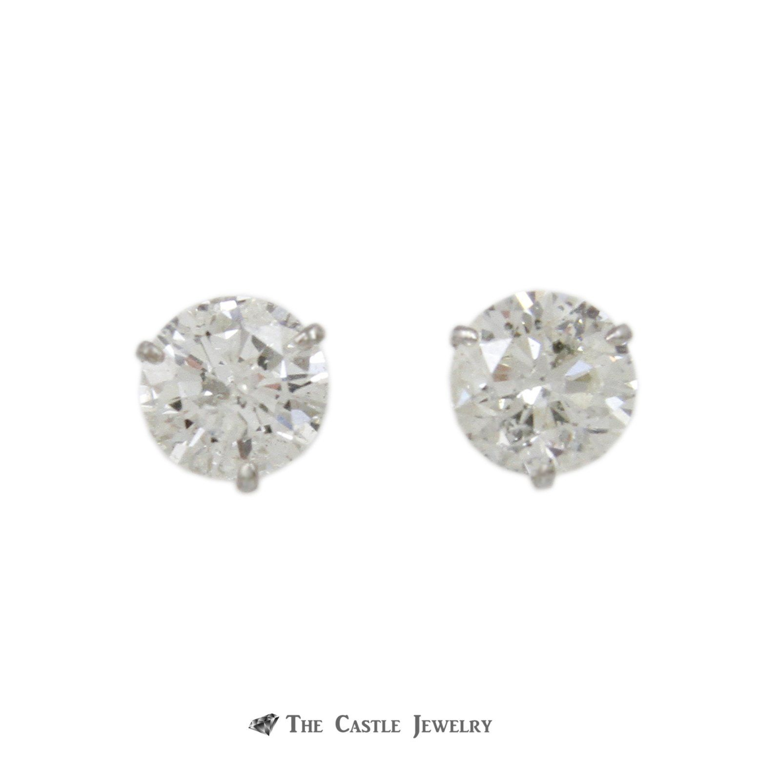stud gold diamond solitaire martini white round prong earrings set