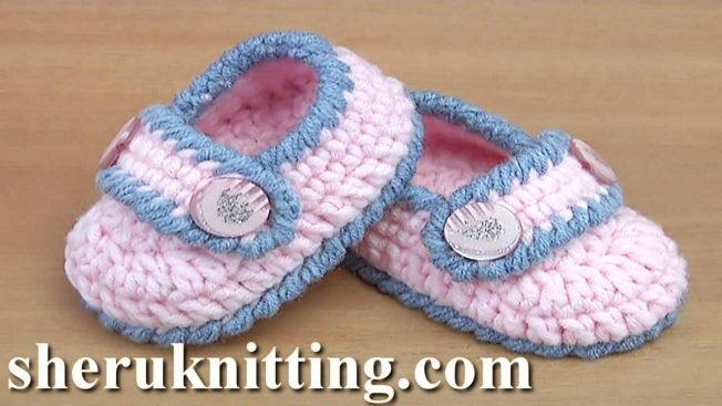 Crochet Simple Baby Booties Tutorial 130 | Crocheting | Pinterest