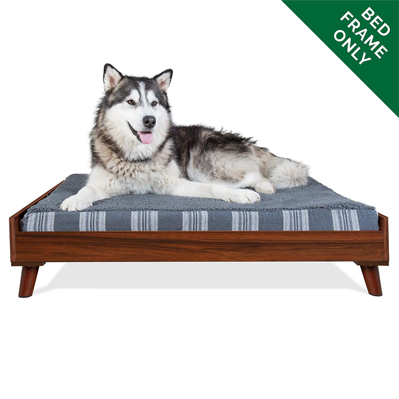 Furhaven Pet Dog Bed Frame Mid Century Modern Style Bed Frame Furniture For Pet Beds And Mattresses Walnut Jumbo Dog Bed Frame Pet Bed Frame Dog Pet Beds