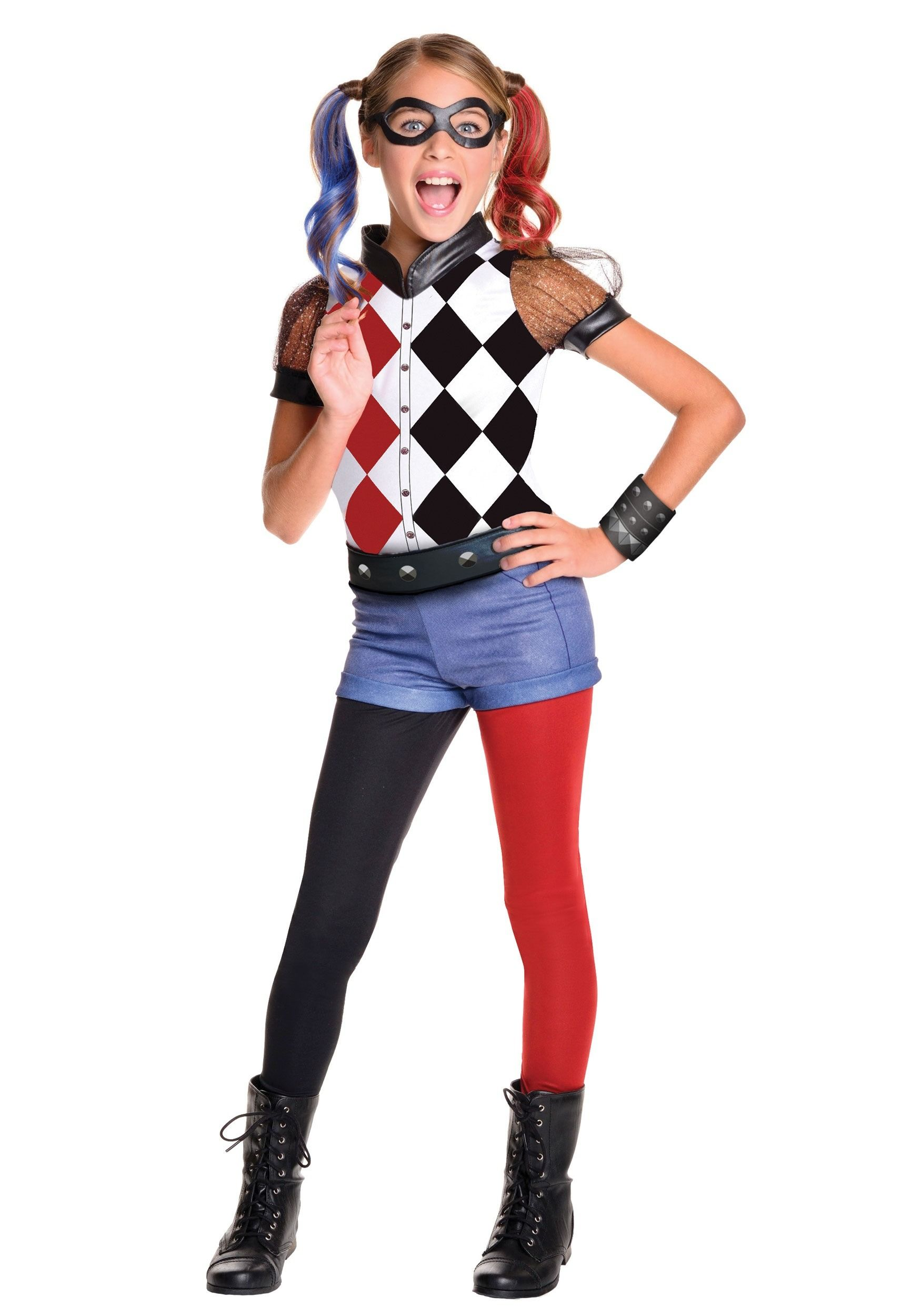 Dc superhero girls deluxe harley quinn costume halloween for Cool halloween costumes for kids girls