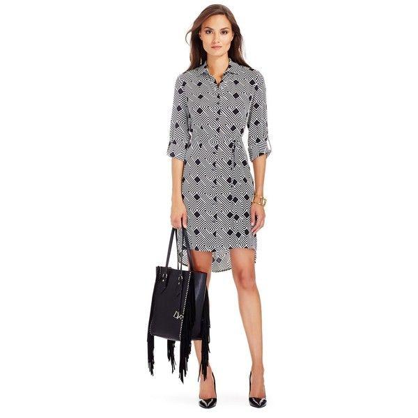 DIANE VON FURSTENBERG Prita Silk Shirt Dress ($258) ❤ liked on Polyvore featuring dresses, geo stripes black, black dress, diane von furstenberg dresses, belted dress, black sleeve dress and shirt-dress