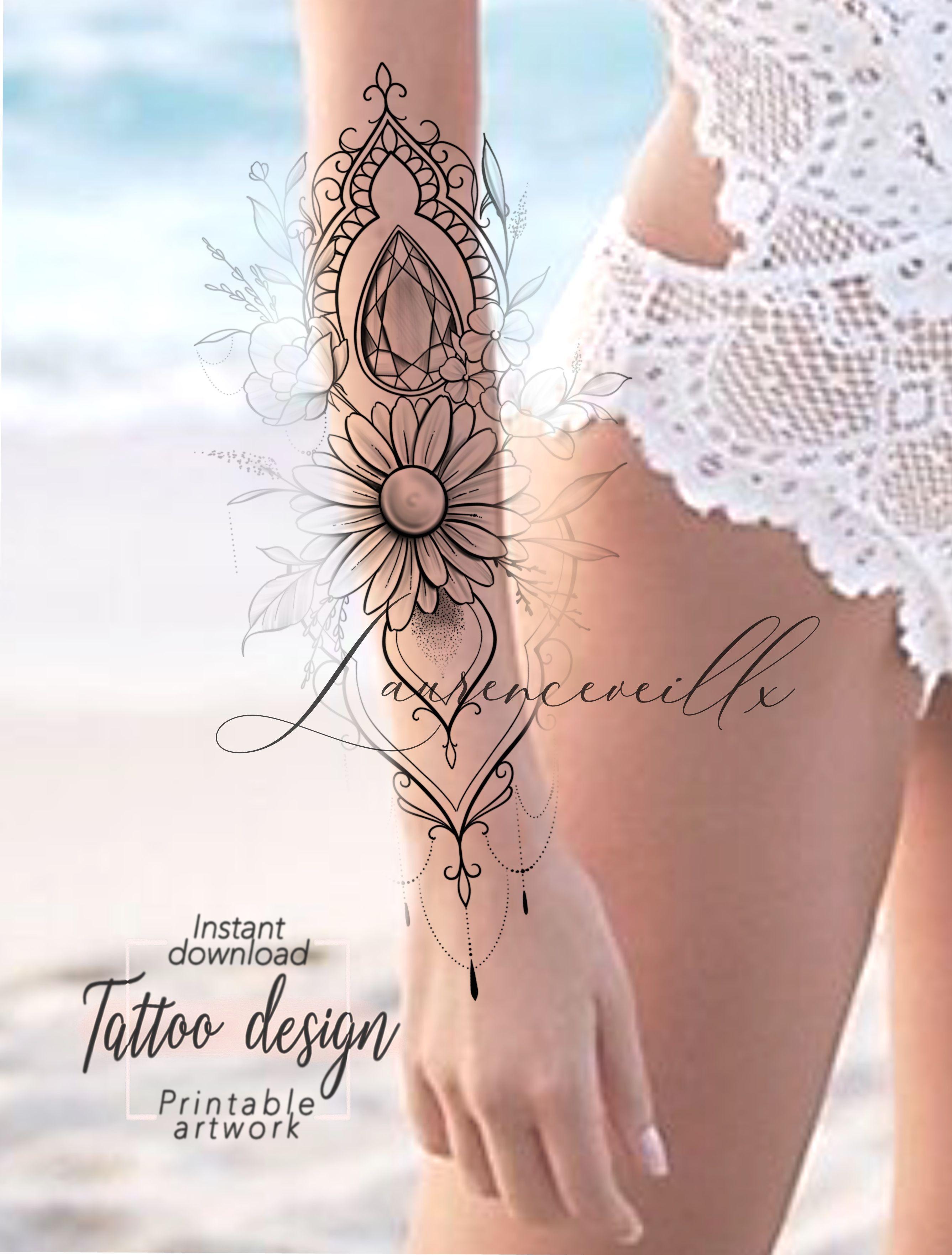 Daisyflower Design Etsy Ornemental Sleeve Tattoo Daisyflower Design Etsy In 2020 Tattoos For Women Half Sleeve Half Sleeve Tattoos Designs Half Sleeve Tattoo