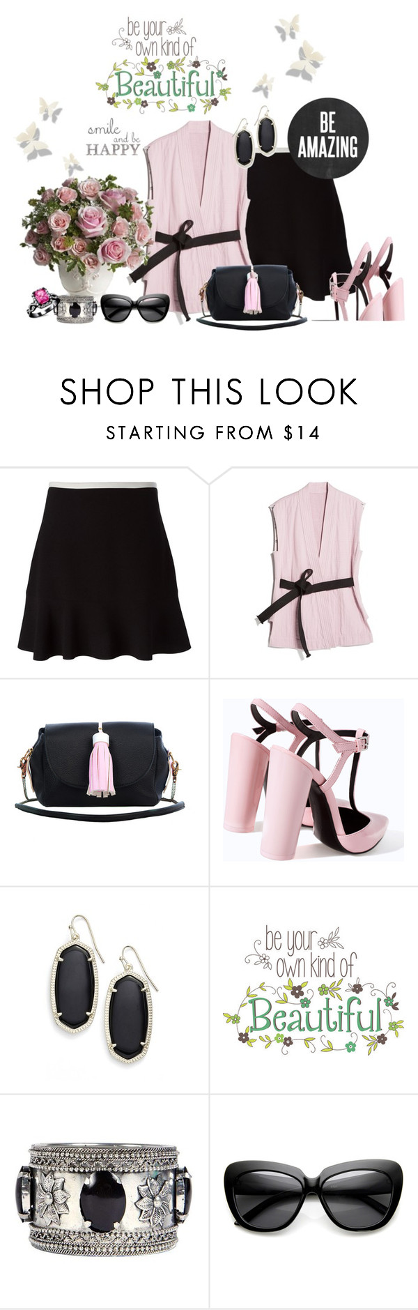 """""""Smile and Be Happy, Sweet Friends !!"""" by fashiongirl-26 ❤ liked on Polyvore featuring See by Chloé, MANGO, Lubochka, Zara, Kendra Scott, Brewster Home Fashions and Boohoo"""