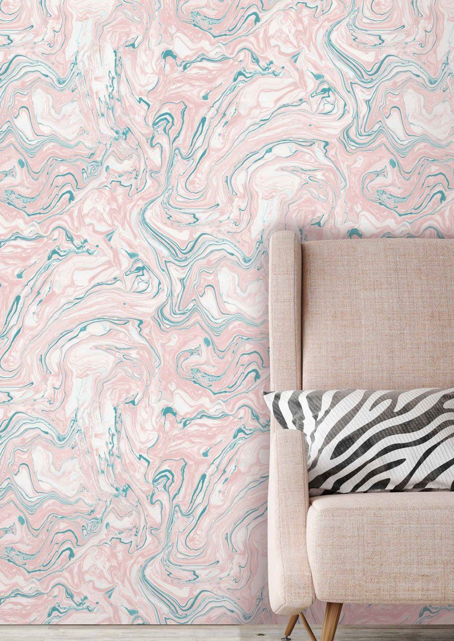 Marbled Flow Wallpaper In Blush By Woodchip Magnolia