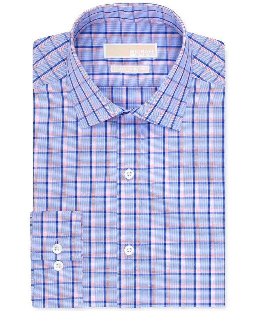 Michael Michael Kors Non-Iron Slim-Fit Blue Bird Multi-Check Dress Shirt