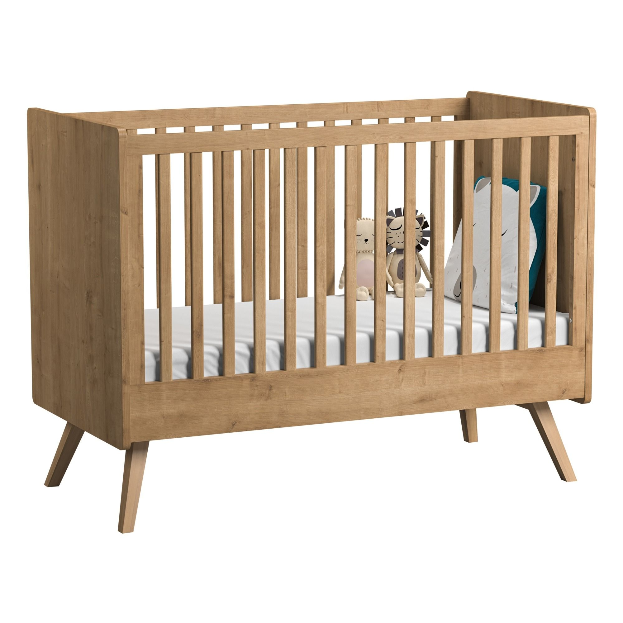 Vintage Oak Convertible Cot Bed 70x140 Cm Oak En 2020 Lit Bebe