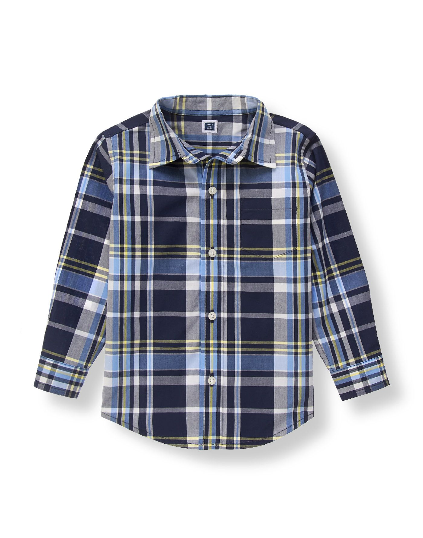 Poplin shirt in handsome plaid is a must-have for your little charmer. Polished style features a chest pocket and center back pleat.