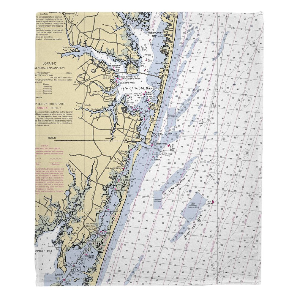 Md Ocean City Md Nautical Chart Fleece Throw Blanket Fleece Blanket Nautical Chart Fleece Throw Blanket