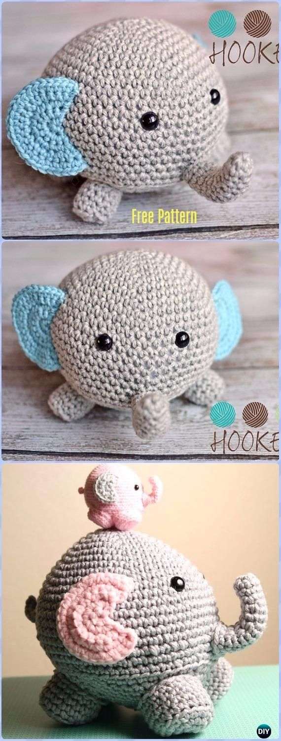 Crochet Elephant Softie and More Free Patterns   Tejido, Patrones ...