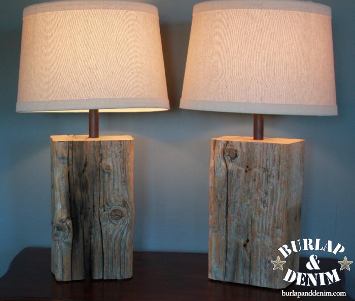Distressed Salvaged Wood Block Lamp Diy Lamps Pinterest Wood