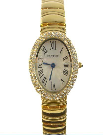 Cartier Baignoire 18k Yellow Gold Diamond Lady S Watch Wb5096w1