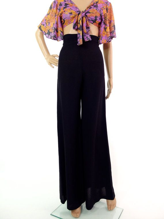 STUNNING 70s Super Wide Legged High Waisted Crepe by HuzzarHuzzar