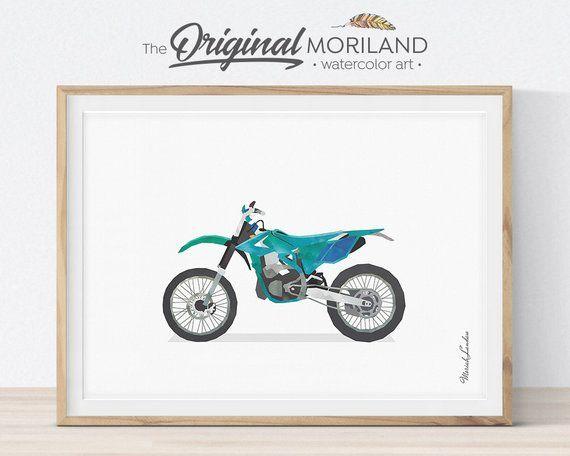 Dirt Bike Print, Dirt Bike Decor, Motorcycle Wall Art