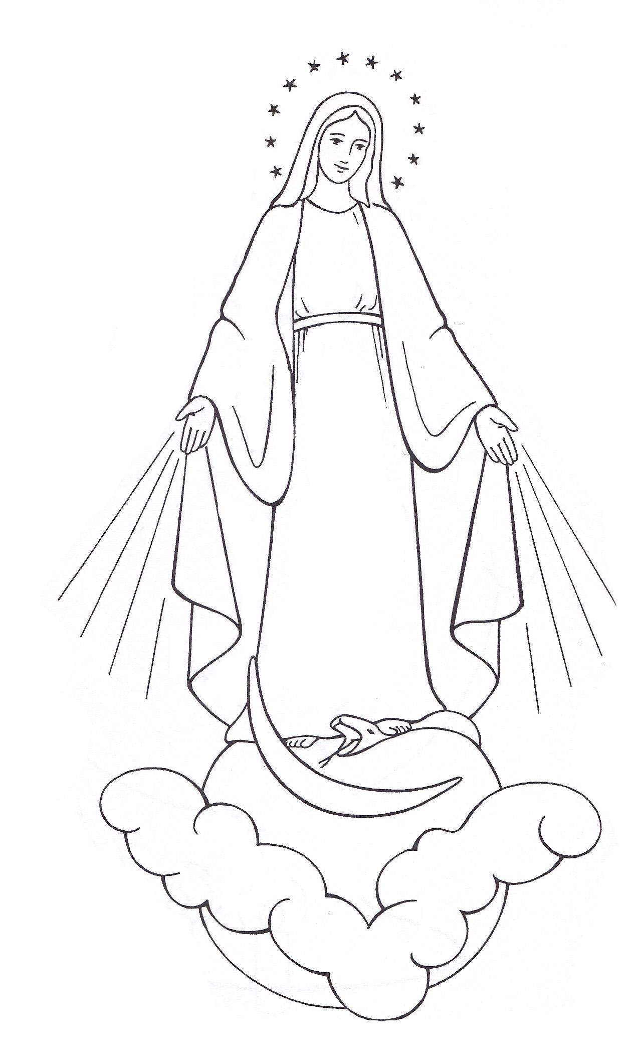 Our Lady Catholic Coloring Page | rajzolt angyalok, tündérek, szt ...
