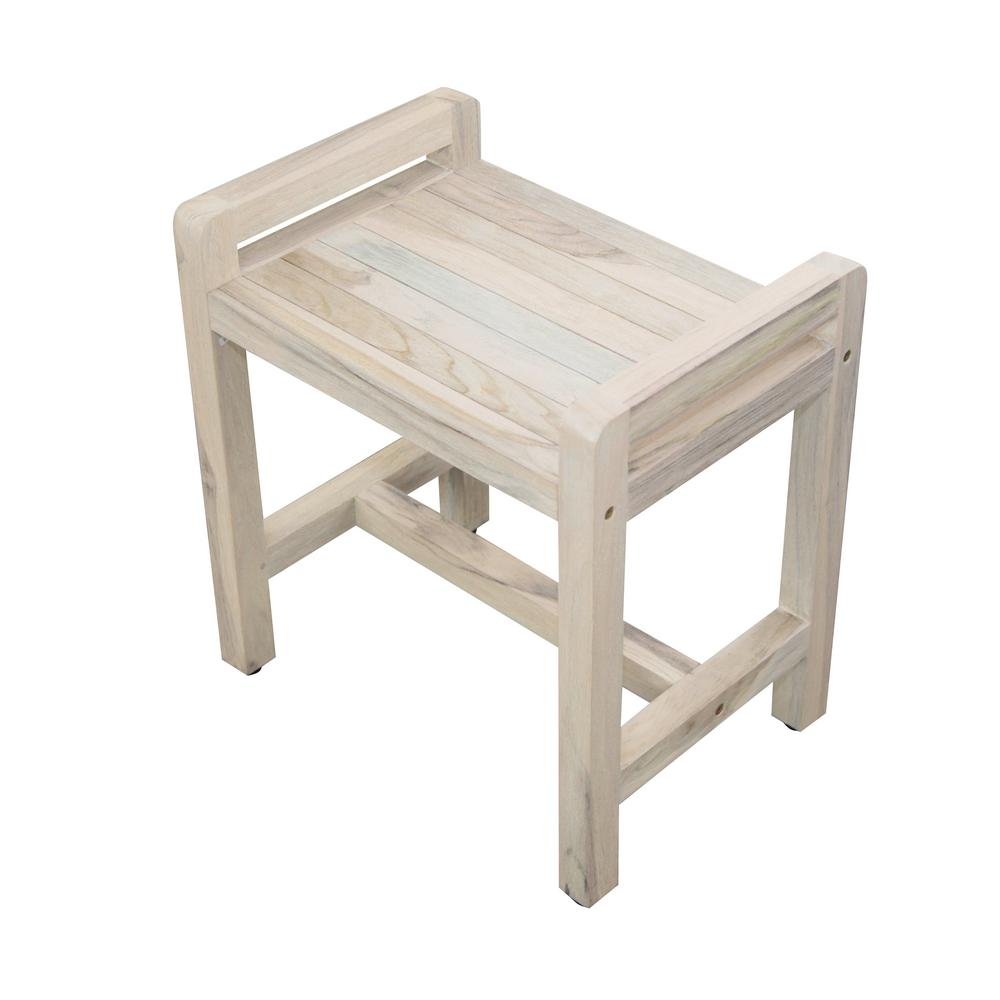 E And T Horizons Classic 20 In L Teak Shower Stool With Liftaide