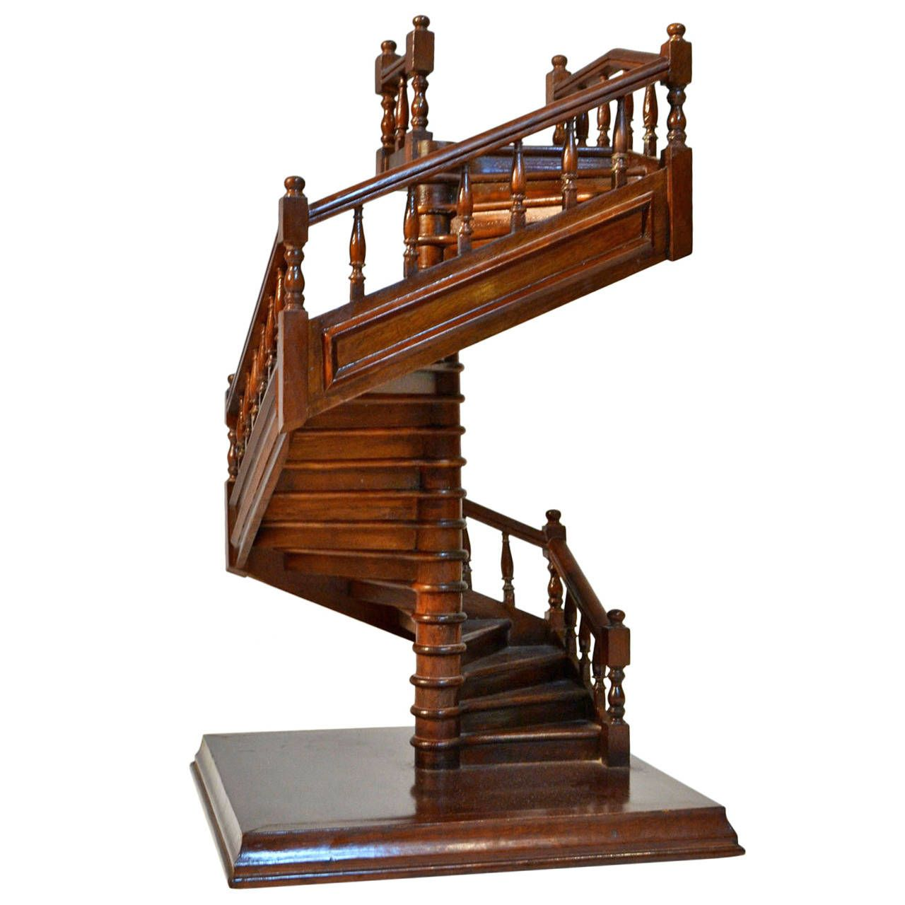 Diy Miniature Doll House Flat Packed Cardboard Kit Mini: French Mahogany Staircase, 19th Century Model