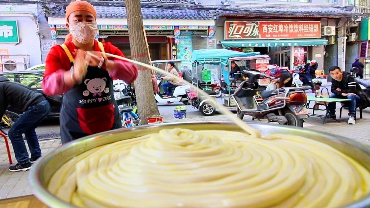 Chinese Street Food World S Longest Noodle In Xi An Muslim Quarter B Chinese Street Food Best Street Food Street Food