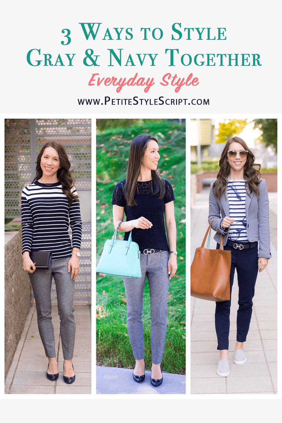 fd8e7eb1691 Learn three ways to style gray and navy together with these outfit ideas  and capsule wardrobe inspiration. Plus